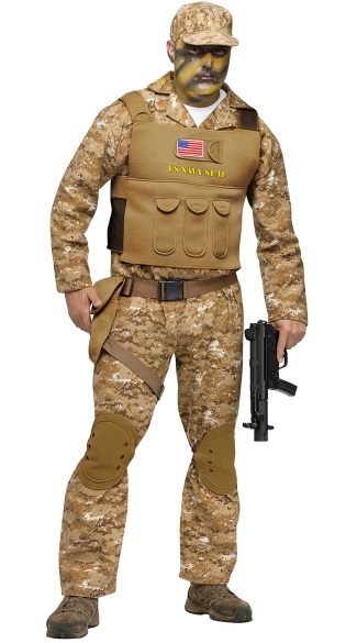 Navy Seal Adult Costume, Army Costume, Military Halloween Costume