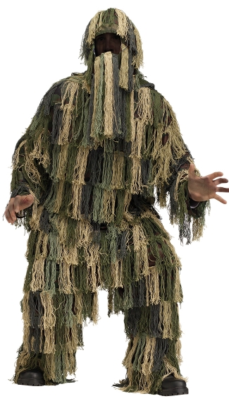 Ghillie Suit Adult Costume, Camouflage Suit Halloween Costume, Military Costume