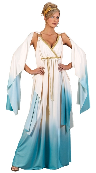Aqua Greek Goddess Costume, Blue and White Goddess Costume, Long Goddess Gown Costume