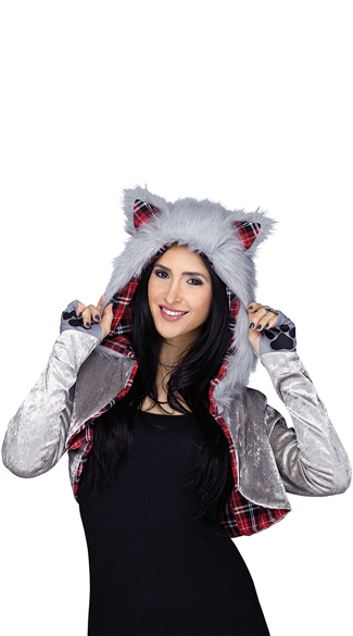 Velvet Wolf Shrug, Furry Wolf Shrug, Animal Shrug