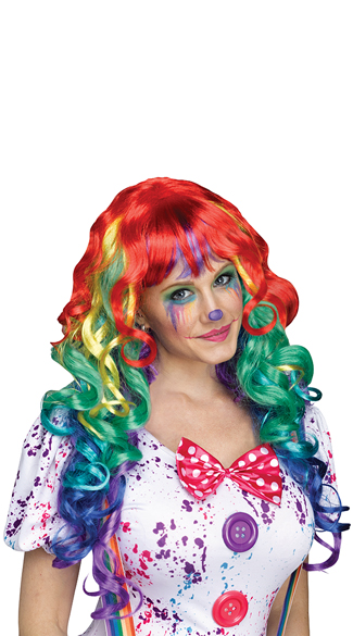Curly Rainbow Wig with Bangs, Rainbow Wig, Long Rainbow Wig