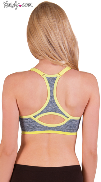 Padded Scoop Neck Sports Bra with Keyhole Racer Back