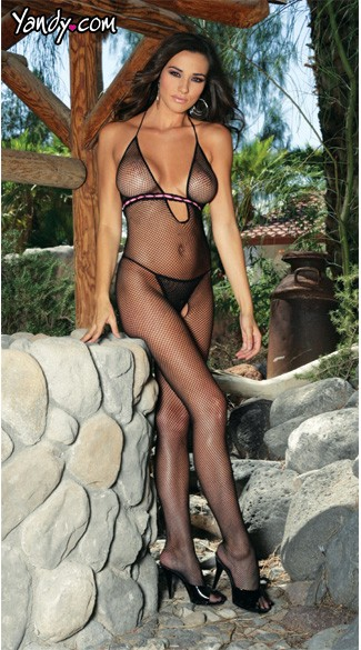 Fishnet Bodystocking with Ribbon Bodice, Ribbon Accented Bodystocking, Crotchless Bodystocking