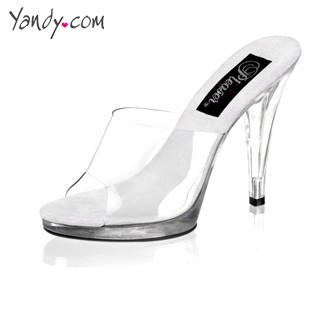 4 1/2 Inch Stiletto Heel Platform Slide, Sexy Clear Stiletto