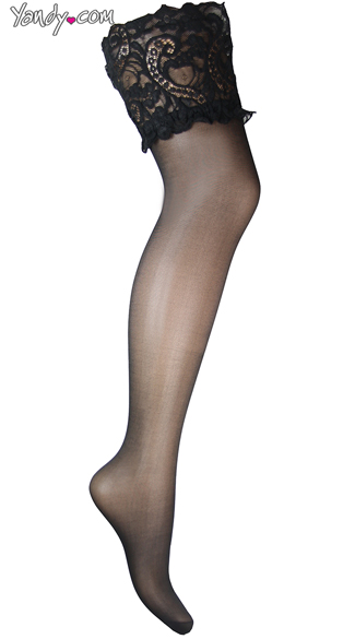 Plus Size Wide Lace Top Thigh Highs, Plus Size Thick Lace Band Stockings