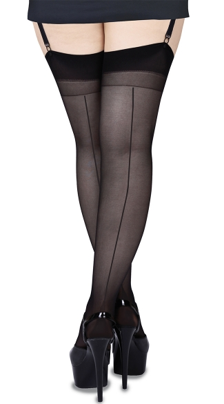 Plus Size Seamed Thigh Highs, Plus Size Backseam Stockings