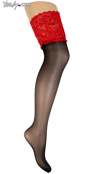 Plus Size Red Lace Thigh Highs