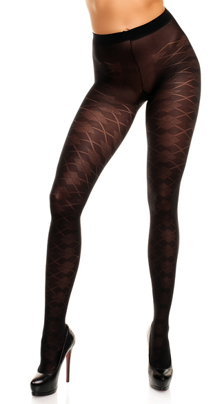 Plus Size Argyle Pantyhose