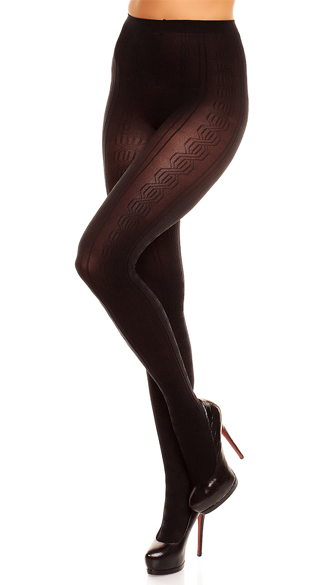 Plus Size Marea Pattered Pantyhose, Plus Size Sheer Pantyhose, Black Sheer Plus Size Pantyhose