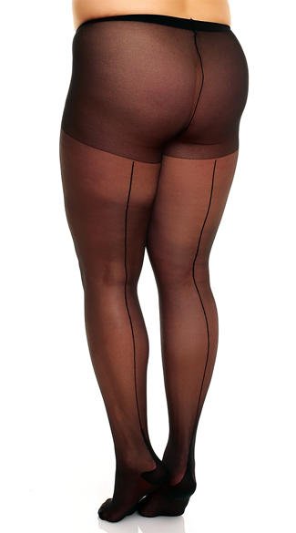 Plus Size Sheer Pantyhose with Back Seam, Plus Size Sheer Pantyhose, Black Sheer Plus Size Pantyhose
