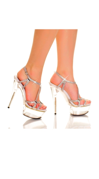 Strappy Stiletto with Rhinestone and Glass Crystals