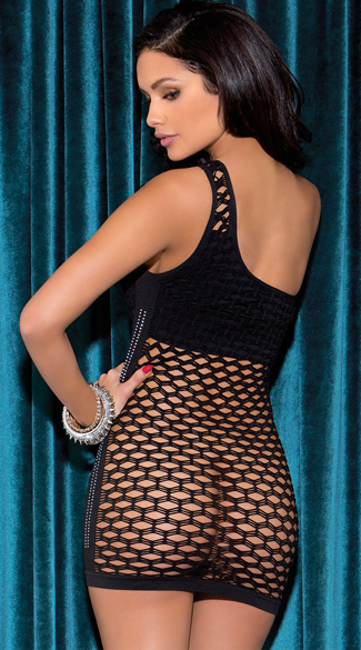 Large Net Single Shouldered Chemise Dress