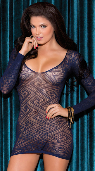Bedeviled Diamond Chemise, Diamond Pattern Long Sleeve Chemise, Blue Chemise
