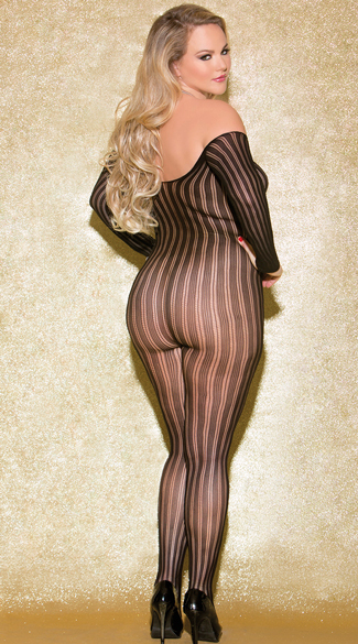 Plus Size Long Sleeve Striped Bodystocking