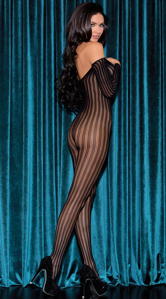 Long Sleeve Striped Bodystocking