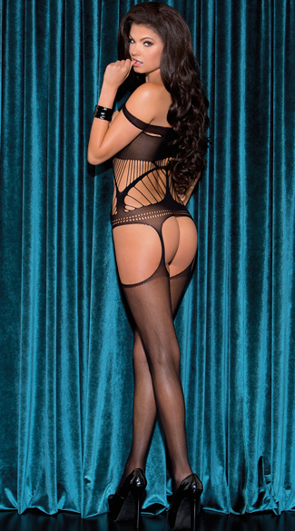 Open Cup Netted Bodystocking