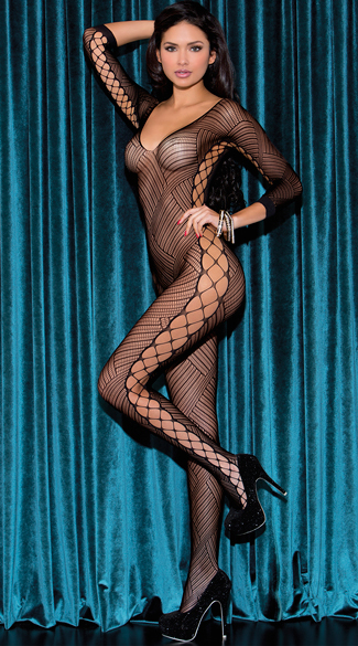 Diagonal Striped Bodystocking, Fishnet Bodystocking, Striped and Fishnet Bodystocking