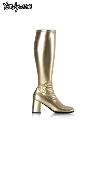 "3"" Heel Gold Go Go Boot, Sexy Metallic Gold Go Go Boot"