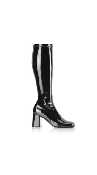 Black Mamba Patent Go Go Boot, Knee High Black Boots, Black Patent Boots