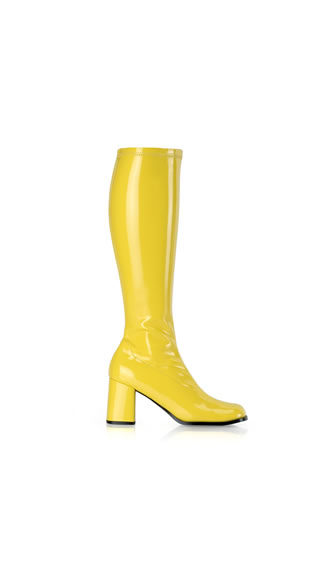 Yellow Stretch Go Go Boot, Sexy Yellow Go Go Boot, 3 Inch Go Go Boot, Gogo Dancing Boots