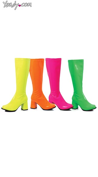 "3"" Neon Gogo Boots, Neon Boots, Go Go Boots"