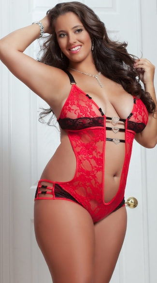 Plus Size Play and Tease Teddy, Plus Size Open Lace Teddy