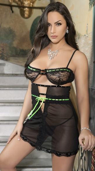 Love Affair Chemise, Black and Green Chemise