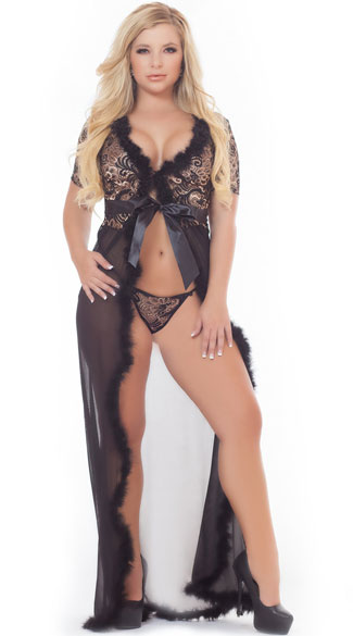 Plus Size Sexy Glam Night Robe Set, Plus Size Mesh and Lace Robe Set, Plus Size Sheer Robe Set