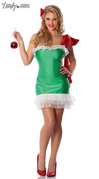 Gift Wrapped Costume, Christmas Ornament Costume, Womens Green Christmas Costume
