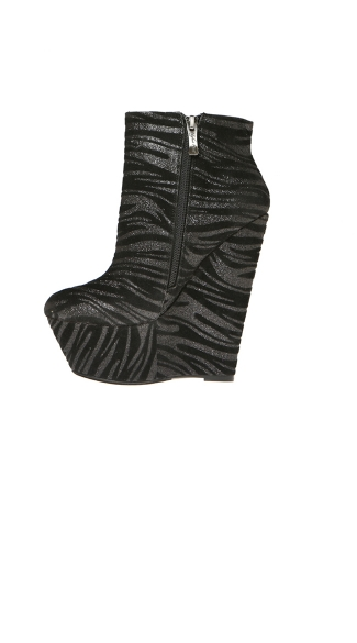 Zebra Craze Platform Wedge Bootie