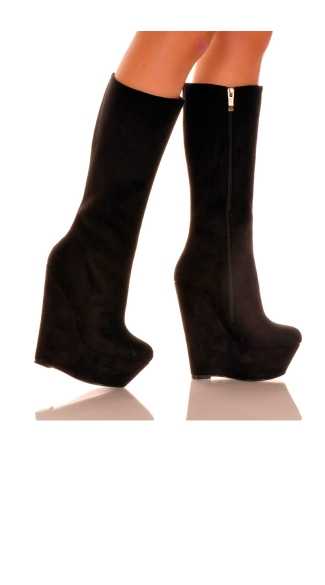 Faux Suede Platform Wedge Boot