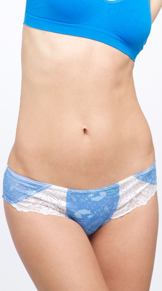 Blue and White Lace Love Scented Hipster, Womens Underwear, Cheeky Underwear