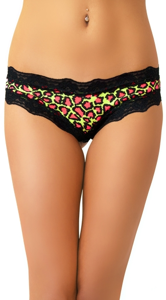 Neon Green and Pink Cheetah Print Panty with Floral Musk Scent, Cotton Underwear for Women, Cheeky Underwear