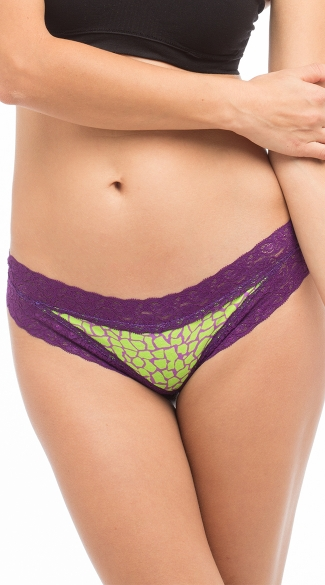 Pineapple Scented Green Giraffe Cheeky Lace Panty, Ladies Lace Panties, Cotton Underwear For Women