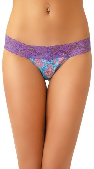 Floral Scented Purple Lace and Blue Flower Thong