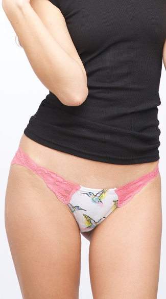 Pink Hummingbird Love Scent Thong, Cheap Underwear for Women, Womens Panties