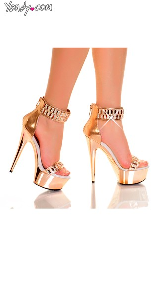 Diamond Fetish Metallic Platform Sandals