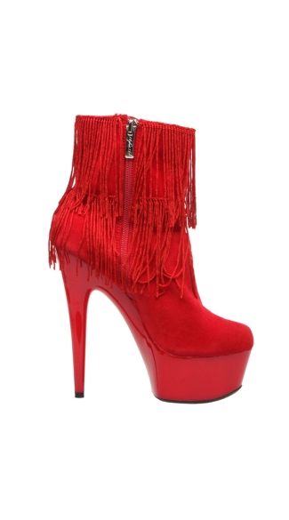 "6"" Micro Suede Close Toe Fringe Detail Ankle Booties"