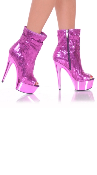 "6"" Side Zip Open Toe Sequin Booties"