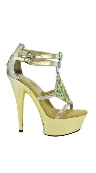 "6"" Double Strap Platforms With Disco Ball Accent Strap"