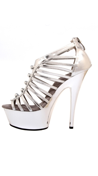"6"" Knot Detail Rear Zip Strappy Platform Shoes"