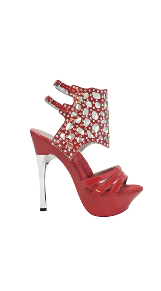 "6"" Platform With Rhinestone Strap And Double Ankle Straps"