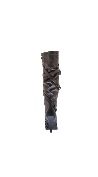 "3"" Gathered Upper Knee Boot With Studded Belt Wraps"