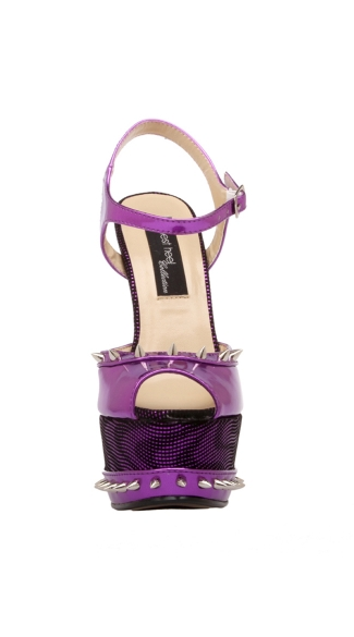 "6 3/4"" Patent Leather Sandal With Spiked Topline And Platform"