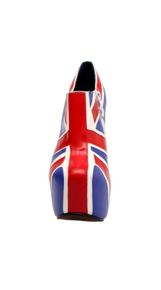 "6 3/4"" Union Jack Bootie With 2\"" Platform And Side Zip"
