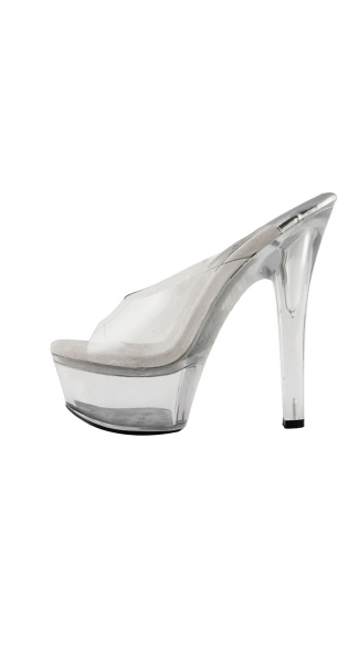 "6"" Large Platform Mule With Clear Strap"