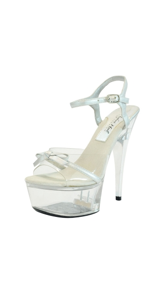 "6"" Platform With Clear Vinyl Strap And Metal Heel"