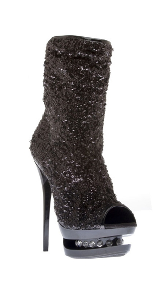 Sequin Ankle Bootie with Diamond Platform, Gold High Heels, Sequin Platform Shoes