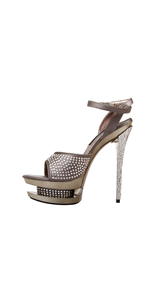"5 1/2"" Diamond Covered Satin Platform Shoes"