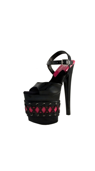 "7 1/2"" Sandal With Criss Cross Lace On Platform"